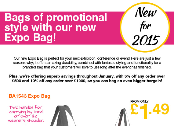 Bags of promotional style with our new Expo Bag!
